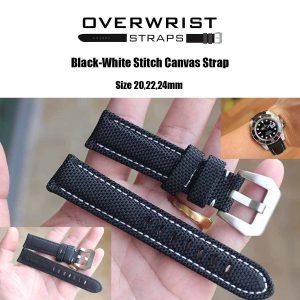 สายนาฬิกาแบบผ้า CANVAS - Black-White Stitch Canvas Leather Strap