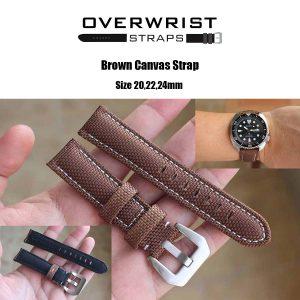 สายนาฬิกาแบบผ้า CANVAS - Brown Canvas Leather Strap