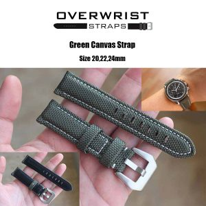 สายนาฬิกาแบบผ้า CANVAS - Green Canvas Leather Strap