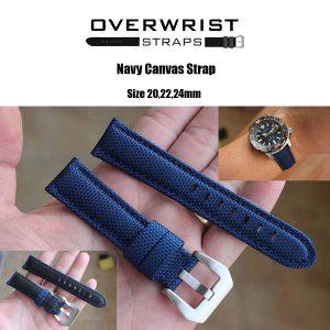 สายนาฬิกาแบบผ้า CANVAS - Navy Canvas Leather Strap