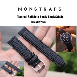 สายนาฬิกาแบบผ้า CANVAS - Tactical Sailcloth Black-Black Stitch Canvas Strap