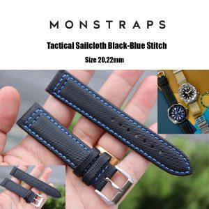 สายนาฬิกาแบบผ้า CANVAS - Tactical Sailcloth Black-Blue Stitch Canvas Strap
