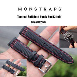 สายนาฬิกาแบบผ้า CANVAS - Tactical Sailcloth Black-Red Stitch Canvas Strap