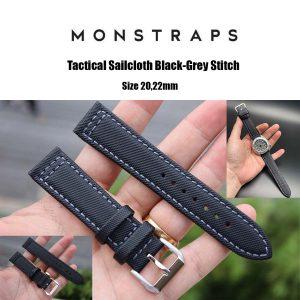 สายนาฬิกาแบบผ้า CANVAS - Tactical Sailcloth Black-Grey Stitch Canvas Strap