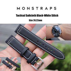 สายนาฬิกาแบบผ้า CANVAS - Tactical Sailcloth Black-White Stitch Canvas Strap